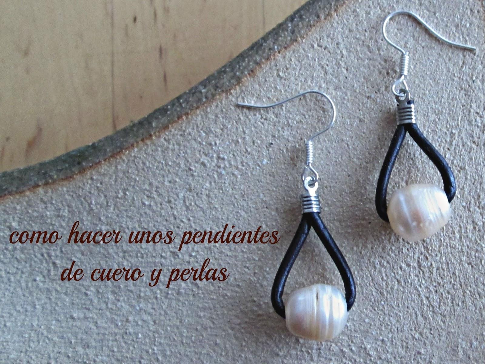 tutoriales de bisuteria DIY Como hacer unos pendientes con cuero y perlas paso a paso