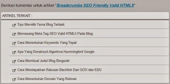 Artikel Terkait (Related Post) Valid HTML5 Style 1