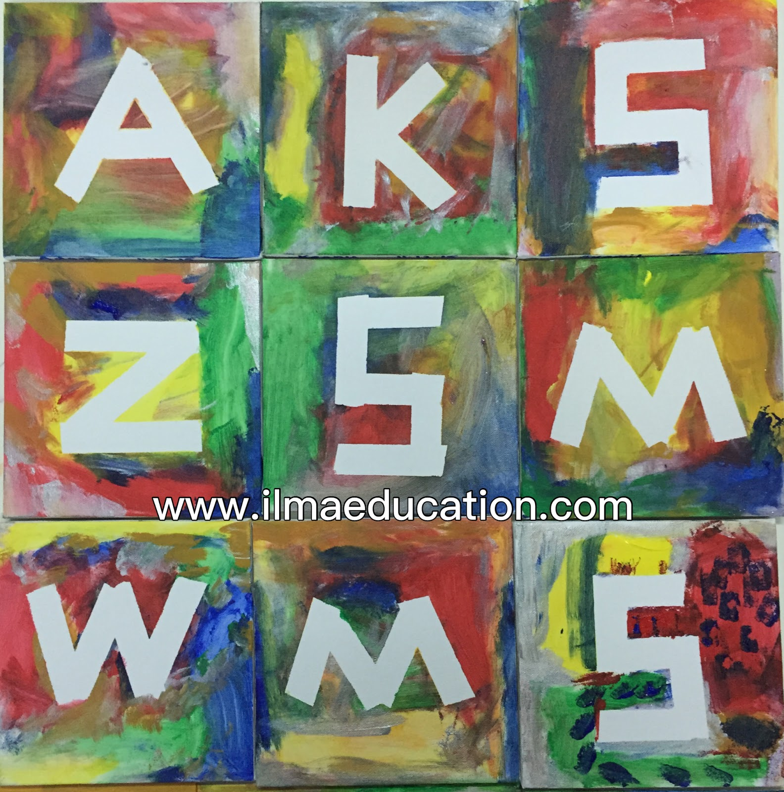 ilma education masking tape letter painting With masking letters for painting