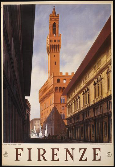 classic posters, graphic design, italian poster, retro prints, travel, travel posters, vintage, vintage posters, Firenze - Vintage Florence, Italy Travel Poster
