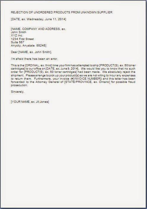 shipment rejection letter
