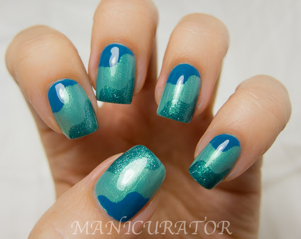 waves nail art with tutorial