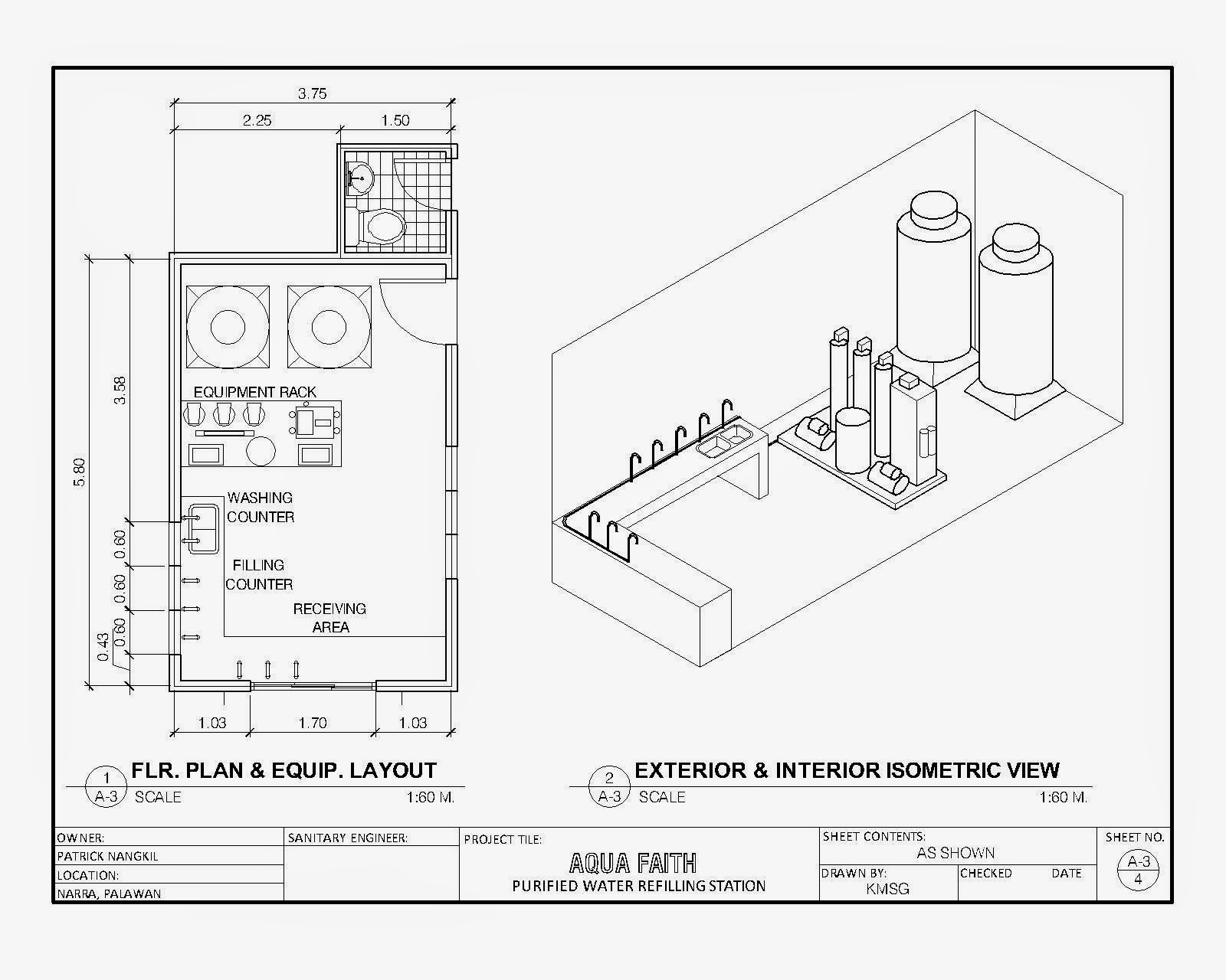 cad sample  water refilling station