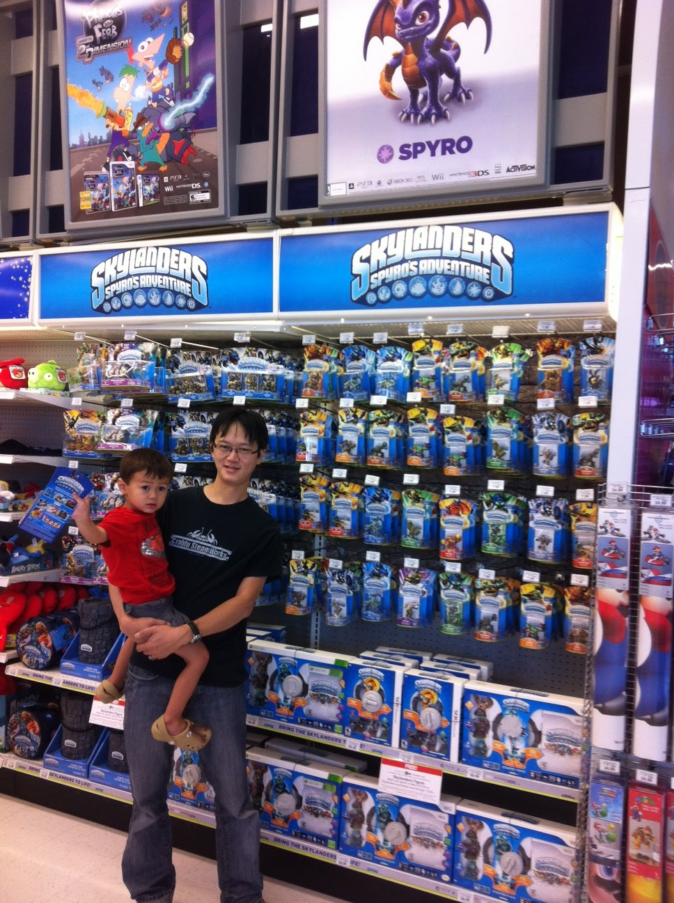 Me and my son at the local Toys R Us on Launch day look at all of