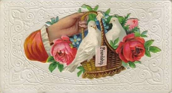 Antique calling card friendship doves flowers