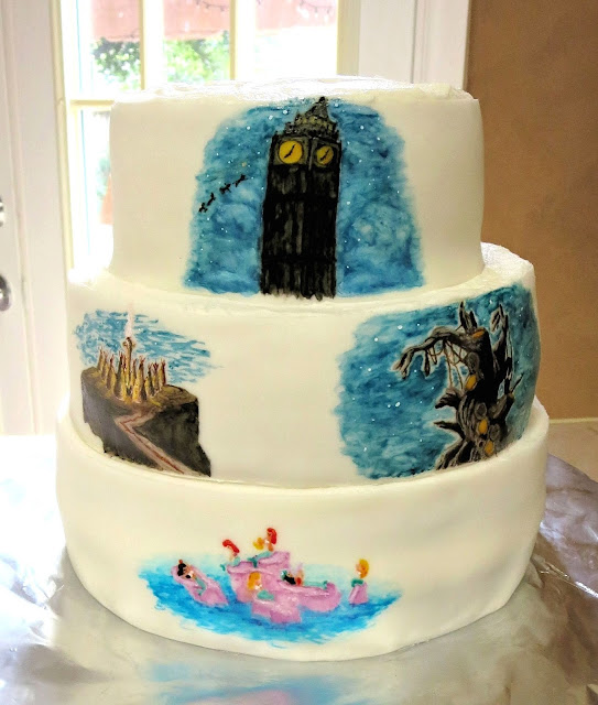 Hand Painted Peter Pan Scenes Cake 4