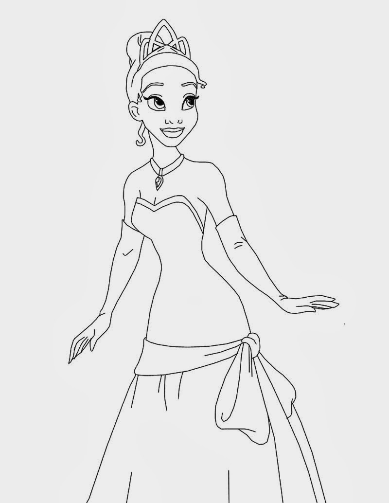 Simple Princess Coloring Pages : Princess tiana and the frog coloring pages free