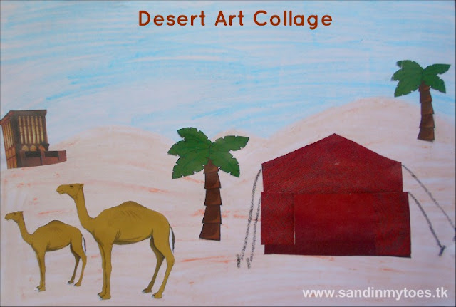 A desert collage art activity to teach kids about life in the desert, and about the heritage of Dubai.