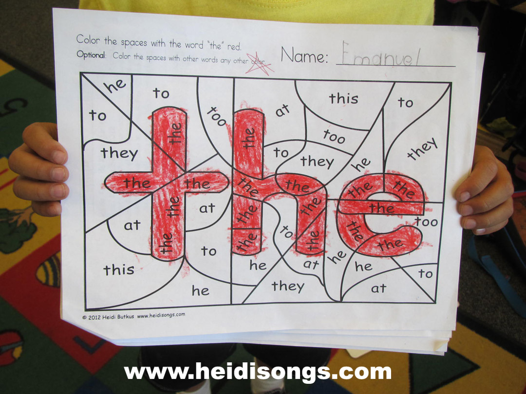 did sight Sight  Word alert!)  Coloring Heidi word Songs worksheet Worksheets! Hidden  (Freebie