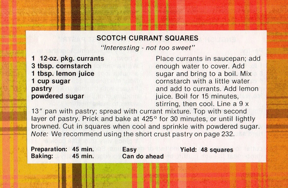 Scotch Currant Squares (quick recipe)