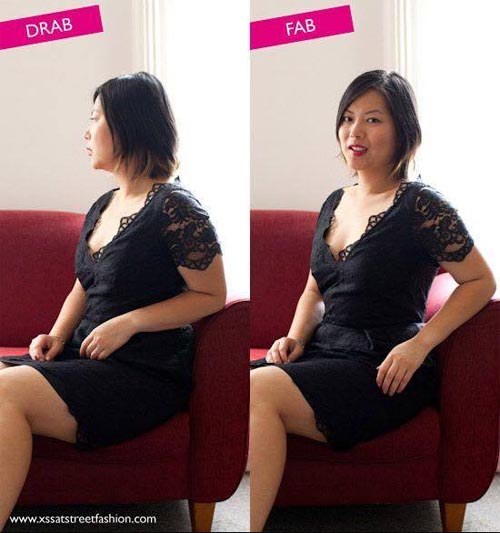 Look thinner in photos sitting position
