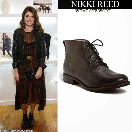 What She Wore Nikki Reed In Black Lace Up Ankle Timberland Boots On December 12 I Want Her