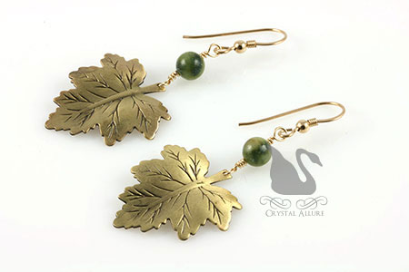 Nephrite Jade Gemstone Leaf Beaded Earrings (E197)