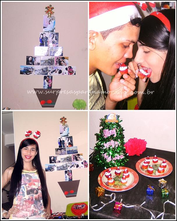 árvore de natal com fotos namorados