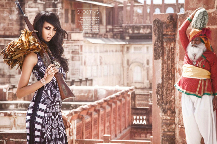 Jersey gown with detachable feather shoulders by Sidharta Aryan, Rose gold hand adornments by Alexander McQueen, Jaisalmer fort, Indian fashion, ethnic style, Vogue India July 2012