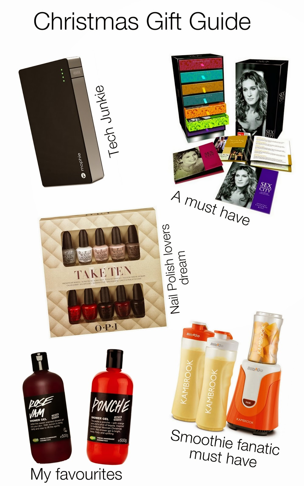 Christmas gift guide 2013, mophie juice pack, sex and the city box set, opi take ten, lush shower gel, kambrook blitz2go