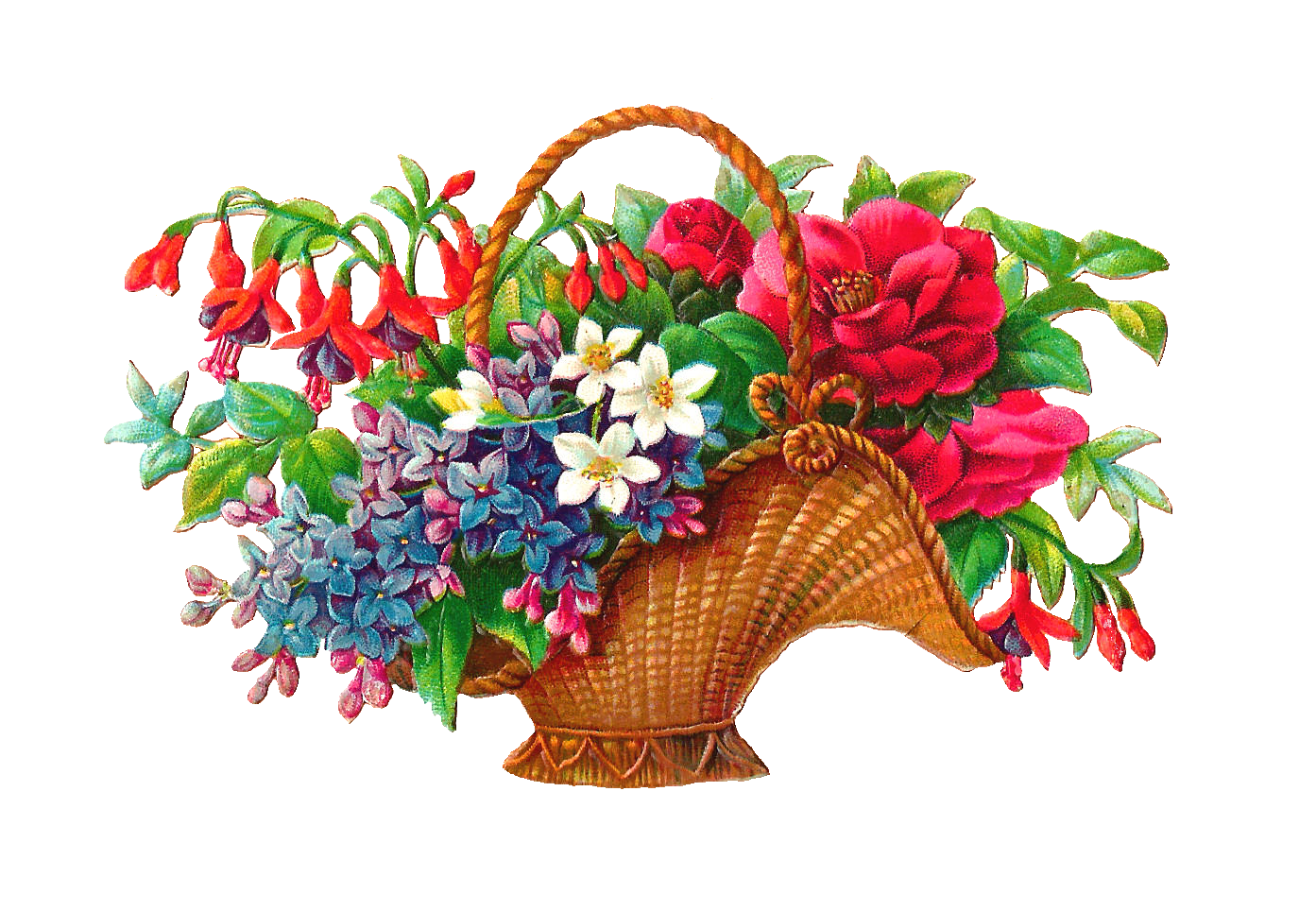 Basketry In Art : Antique images free flower basket clip art wicket