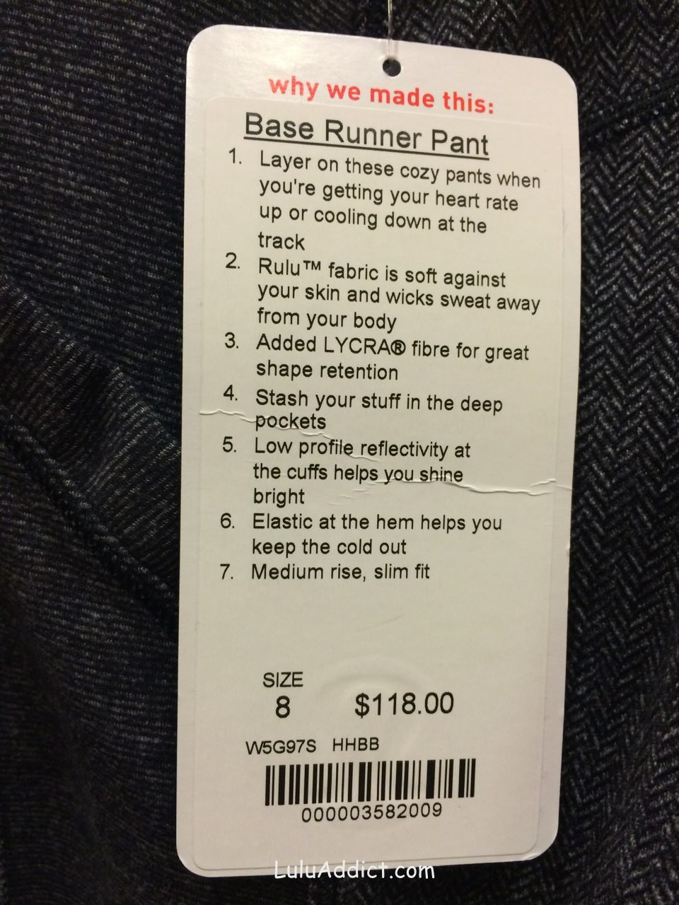lululemon base runner pant price tag
