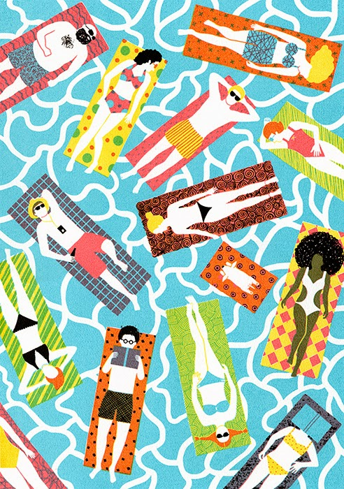 vacation illustration by Boyoun Kim of a pool full of people floating on their mattrasses