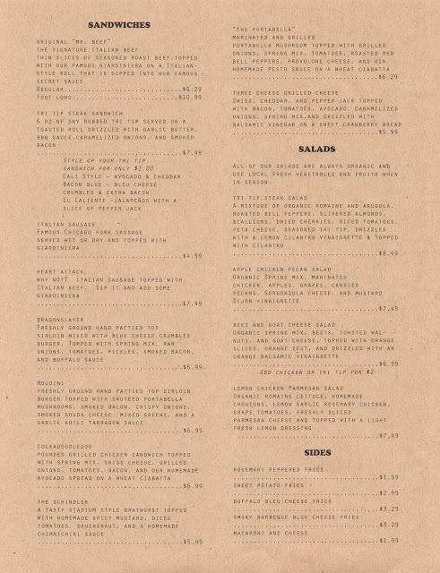 Menu, Cubby's Chicago Beef,