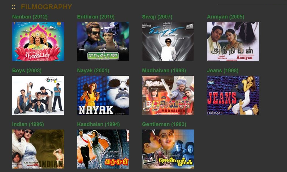 Director Shankar Filmography