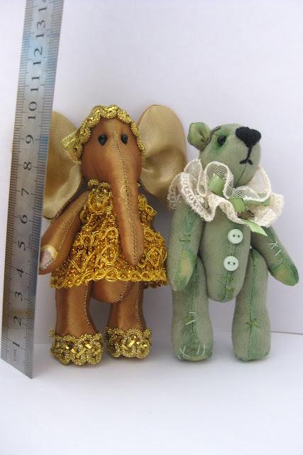 мягкие игрушки мини слоник и мишка