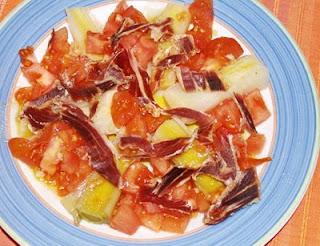 ensalada de puerros y jamón