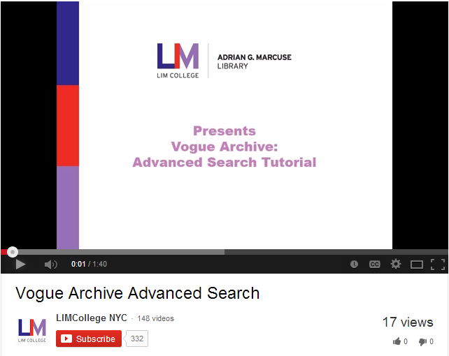 Vogue Archive Advanced Search Tutorial