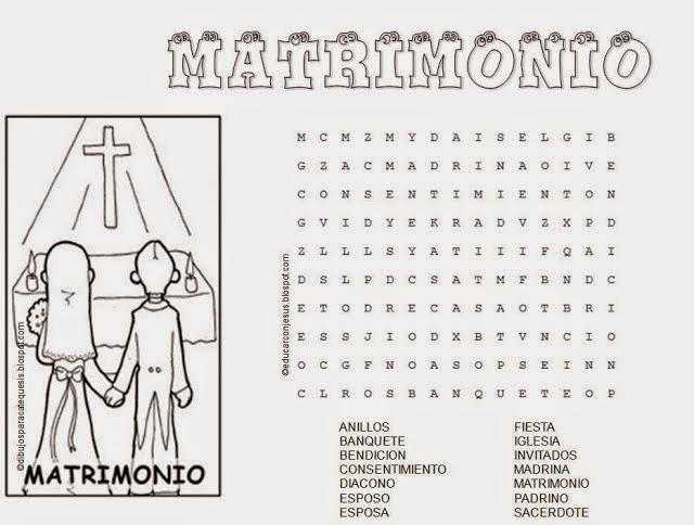 Matrimonio Catolico Colombia : Sopas de letras crucigramas dibujos y dinÁmicas sobre