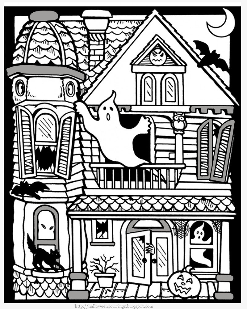 Haunted House Coloring Pages Endearing Halloween Colorings Inspiration