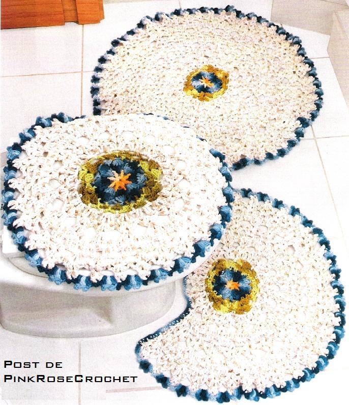 Jogo Banheiro Azul Croche : Croch? da reh jogo de banheiro redondo azul