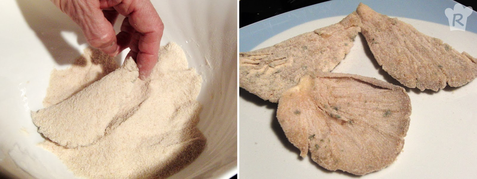 Pasa las setas por pan rallado