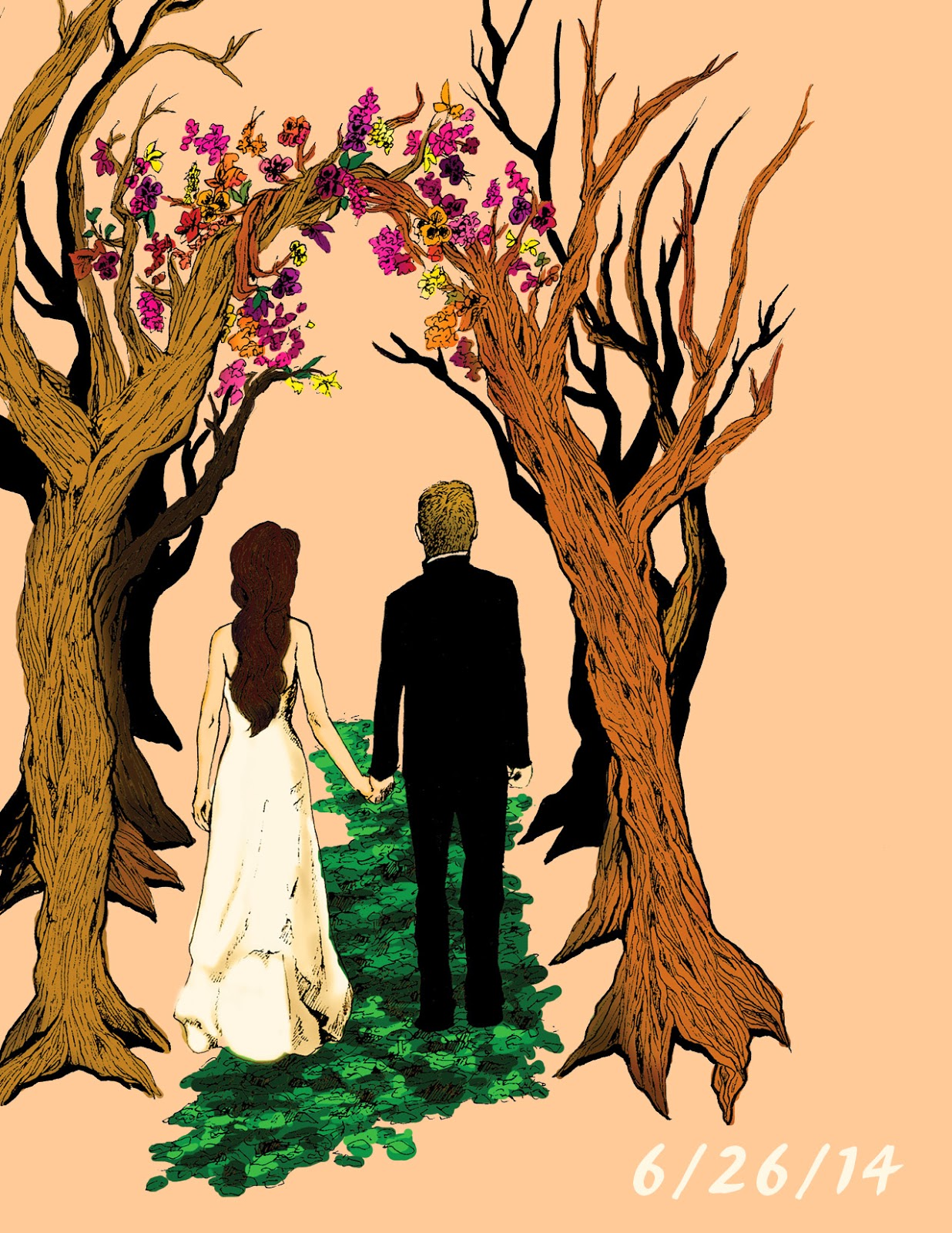 illustrated wedding invitations artwork custom