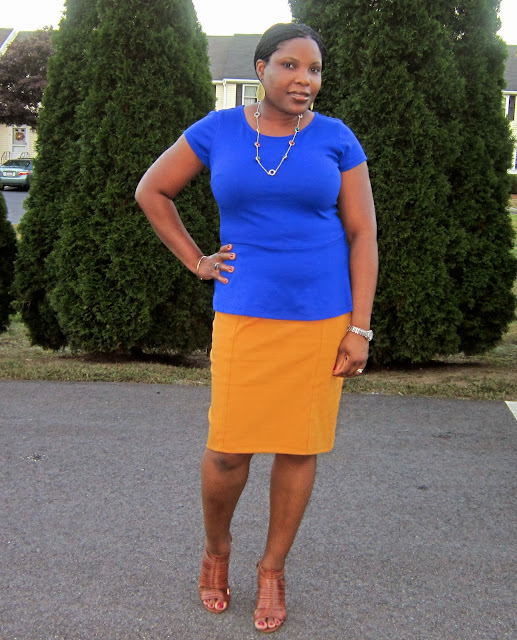 mustard pencil skirt, what to wear with mustard
