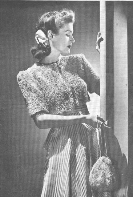 The Vintage Pattern Files: Free 1930's Knitting Pattern - The Bonbon Bolero with Matching Bag