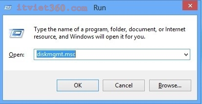 Run trên Windows 8, diskmgmt.msc