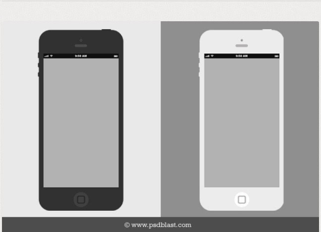 Flat iPhone Wireframe Free PSD