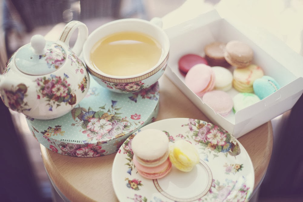 Macarons and Royal Albert china