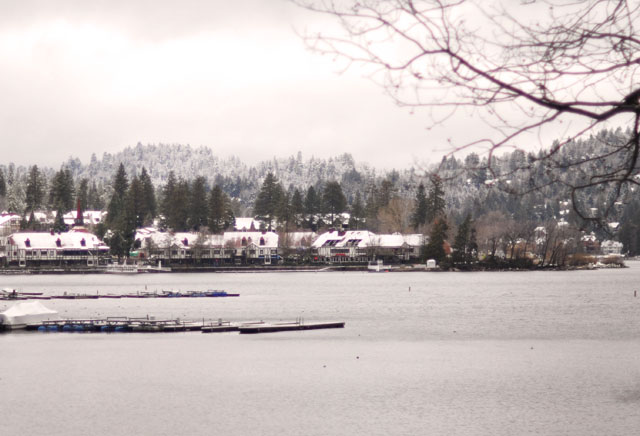 lake arrowhead village from across the lake