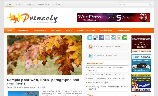 Free Light Gray Orange Jquery Wordpress Theme