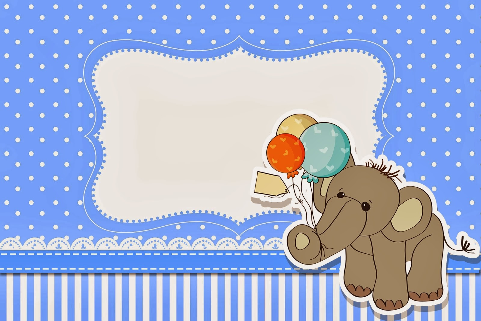Invitaciones Baby Shower Elefante ~ Lovely elephant with balloons for baby parties free