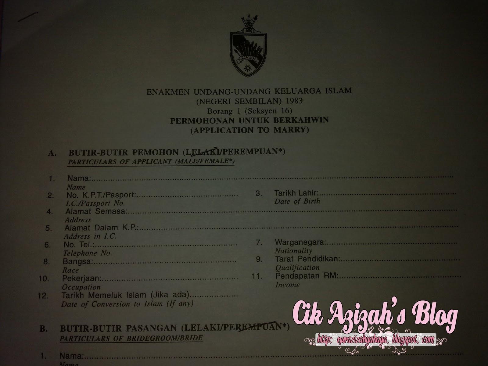 Cik Azizah Borang Permohonan Nikah Dah Hantar