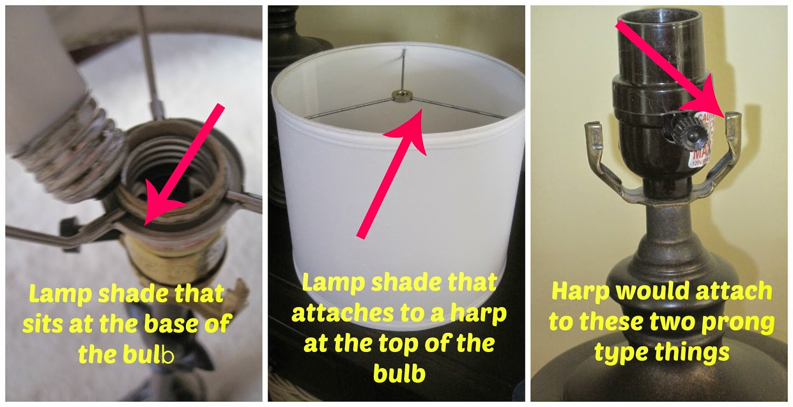 Decorated chaos how to modify any lamp shade to fit your lamp there are two different ways your lamp shade can go on aloadofball Image collections