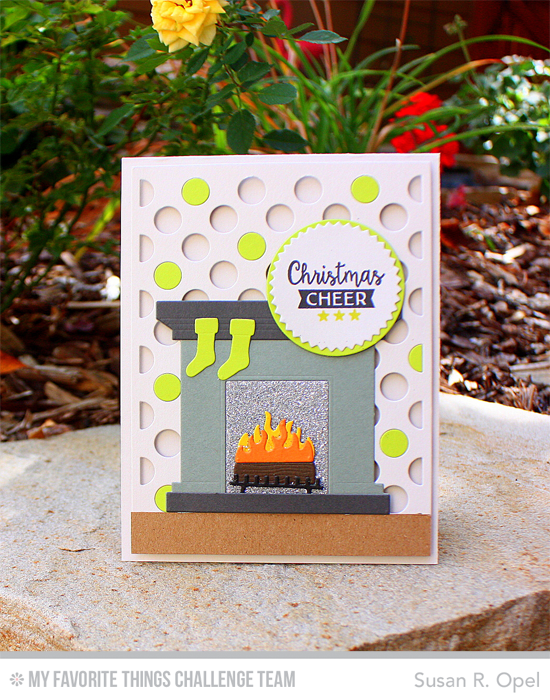 Christmas Cheer Card by Susan R. Opel featuring the Gift Tag Greetings stamp set and the Fireplace and Polka Dot Cover-Up Die-namics #mftstamps #wcmd2015