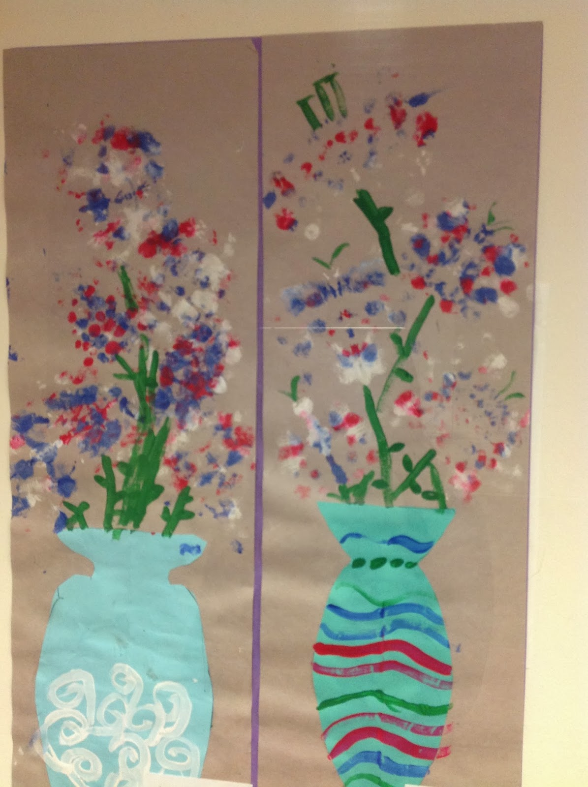 Fourth Grade Monoprint Flower Vases