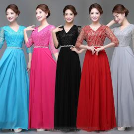 Star Dust Lace Waist Sequin Chiffon Evening Dress