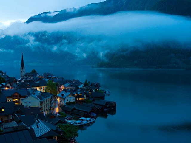Picture of the Day, Hallstatt, Austria, wallpaper, weimin chu, photograph, hallstatt, fogs, parish, church, blue tint, rainy night, warm light, fairyland, photography, opera in austria austria soccer jersey austria concert concerts austria opera vienna austria austria opera house concerts in austria austria concerts austria baden opera austria tv program austria austria train routes austria opera zimmer frei austria tickets austria modling austria upper austria tickets to austria salt mines austria austria tickets baden austria austria souvenirs facts on austria austria facts facts about austria
