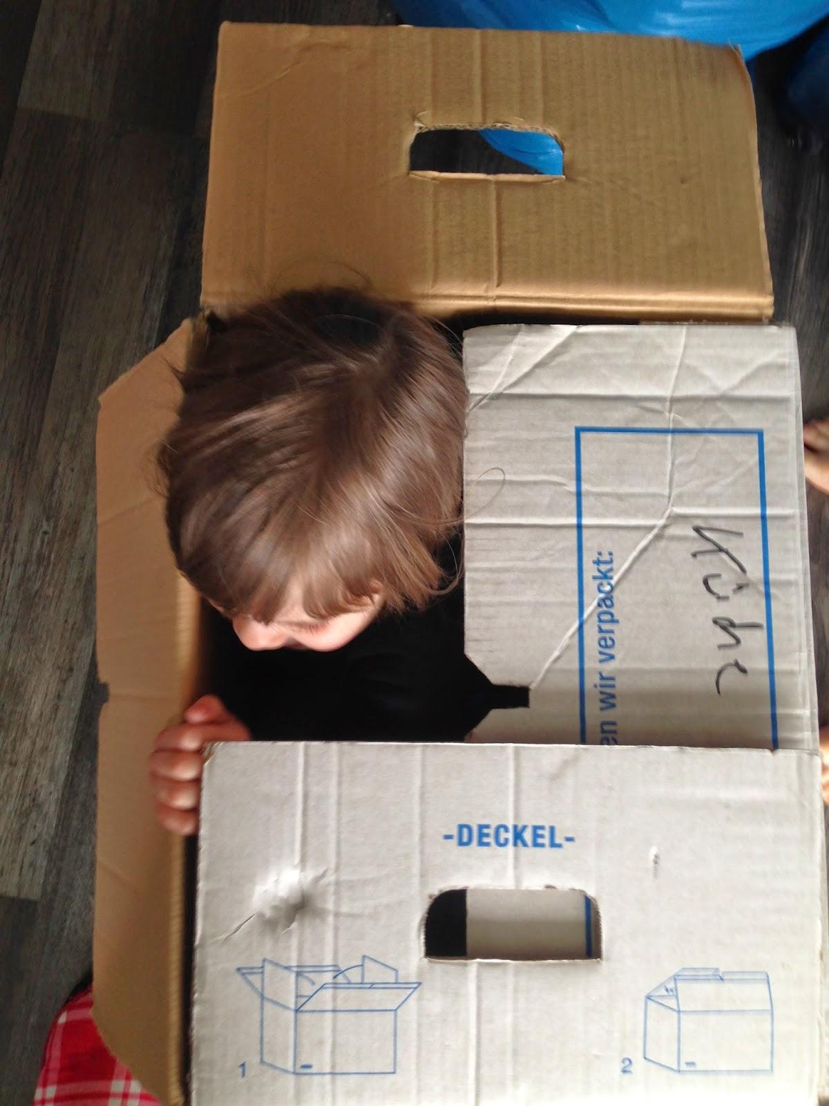 Es wurde sich im Karton versteckt.