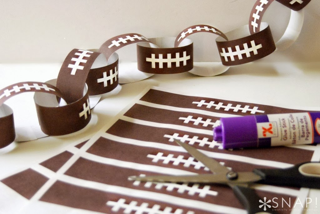 Get the little ones involved in making this super easy Football Paper Chain for a fun gameday garland to hang in the family/TV room.