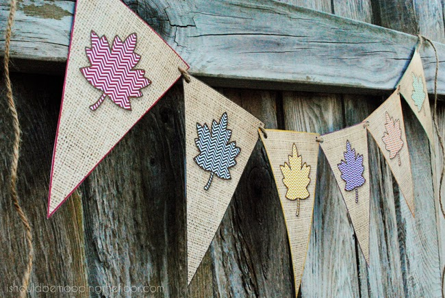 "Free printable ""faux burlap"" banner with chevron leaves. Perfect addition to any fall decor. Mix & match...and make it as long as you like!"
